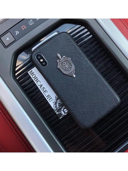 Премиум чехол, чёрный с серебряным гербом ФСБ Mobcase 539, для iPhone X, XS
