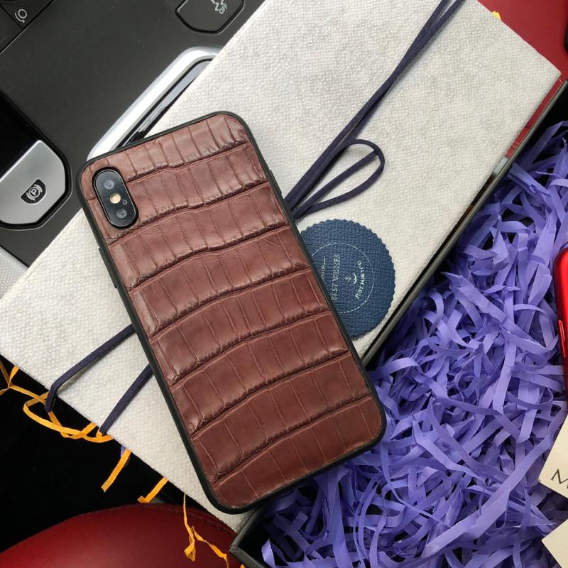 Дорогой чехол из коричневой, крокодиловой кожи Mobcase 591 для iPhone XS MAX