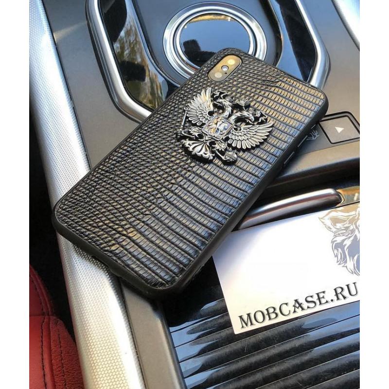 Эксклюзивный чехол из кожи Игуана, с гербом РФ, Mobcase 554, для iPhone XR