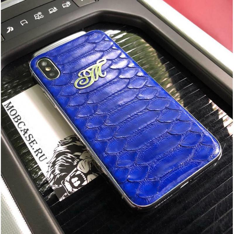 Именной чехол, синий, кожа питона Mobcase 583 для iPhone XR