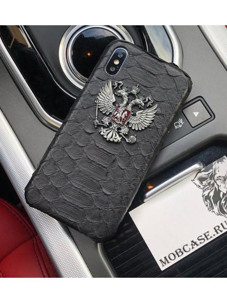 Эксклюзивный чехол с металлическим гербом РФ, Mobcase 551, для iPhone XS MAX