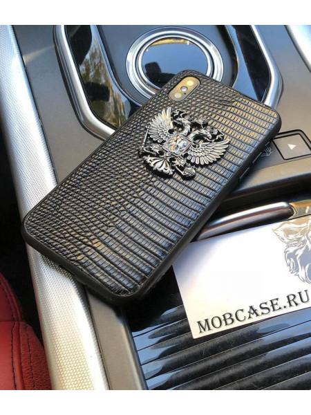 Эксклюзивный кожаный чехол с гербом РФ, Mobcase 555, для iPhone XS MAX