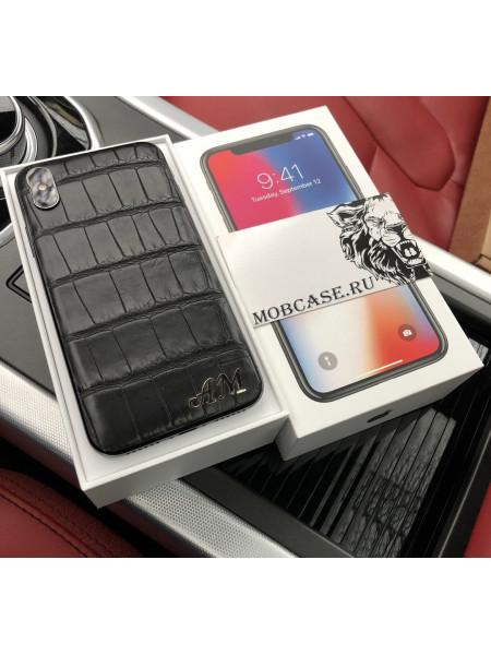 Моддинг iPhone X|XS|XSMAX|XR, именной, чёрный, кожа крокодила, Mobcase 635