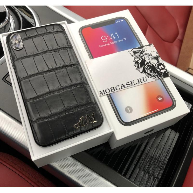 Моддинг iPhone, именной, чёрный, кожа крокодила, Mobcase 635