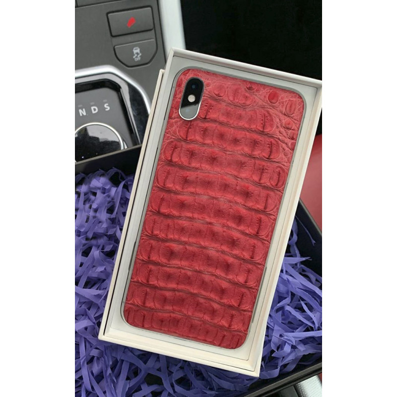 Моддинг iPhone XS из коралловой кожи крокодила, Mobcase 880