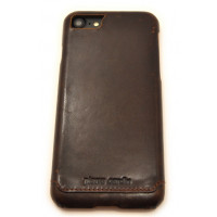 Чехол накладка, Pierre Cardin, тёмно-коричневая, на iPhone 7 — Кожаная