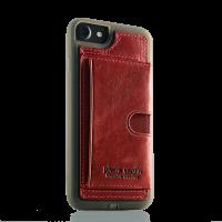 Чехол накладка Pierre Cardin Wallet красная на iPhone 7 — Кожаная
