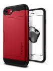 Чехол визитница SPIGEN, Slim Armor CS, красный, для iPhone 7