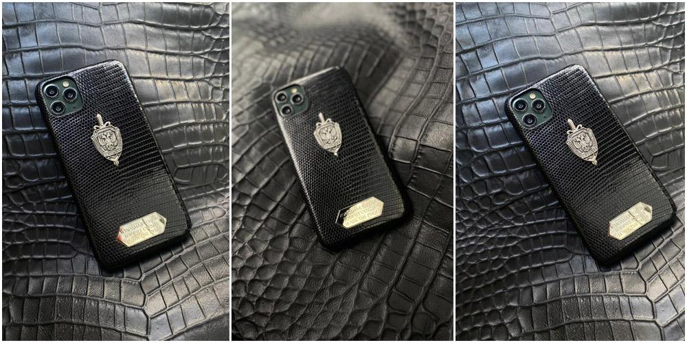 Чёрный кожаный чехол из игуана с гербом ФСБ Mobcase 1398 для iPhone 12 Pro Max