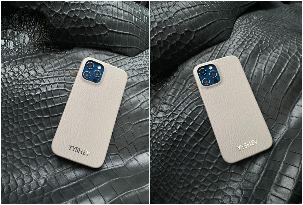 Кожаный белый чехол с именной надписью из серебра Mobcase 1402 для iPhone 12 Pro
