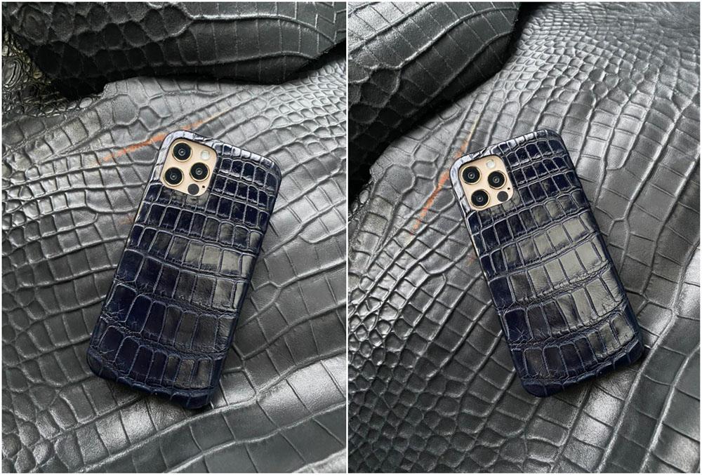 Кожаный синий чехол из крокодила Mobcase 1401 для iPhone 12 Pro