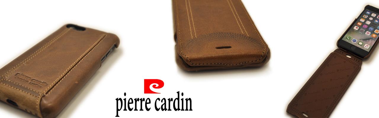 Чехол раскладушка Pierre Cardin коричневый, кожаный на iPhone 8