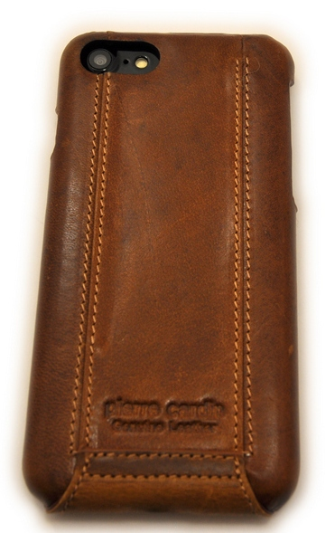 Чехол кожаный раскладушка Pierre Cardin, Коричневый, на iPhone 8