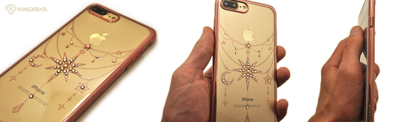 Чехол накладка Kingxbar Twinkling Розовая Золотая звезда на iPhone 7 Plus