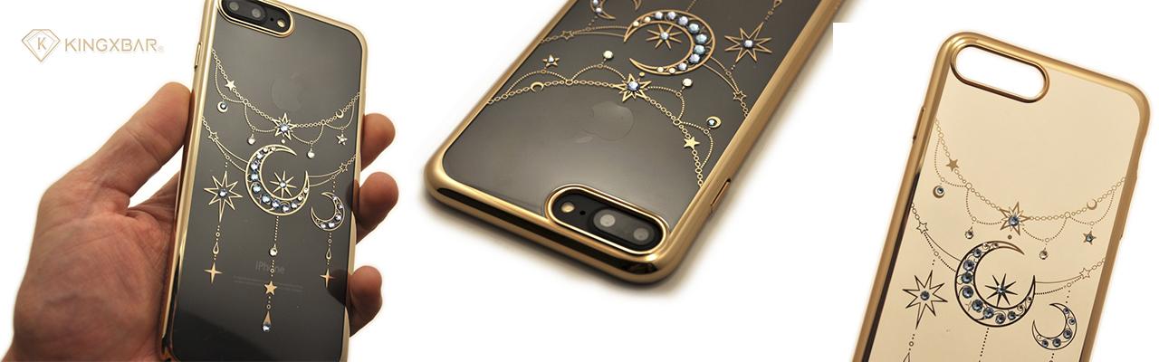 Чехол накладка Kingxbar Twinkling Золотая Луна на iPhone 7 Plus