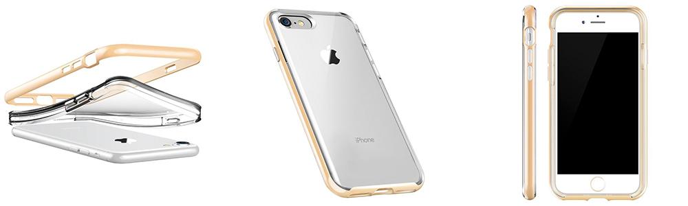 Чехол клип кейс, VRS Design New Crystal Bumper, золотой для iPhone 7