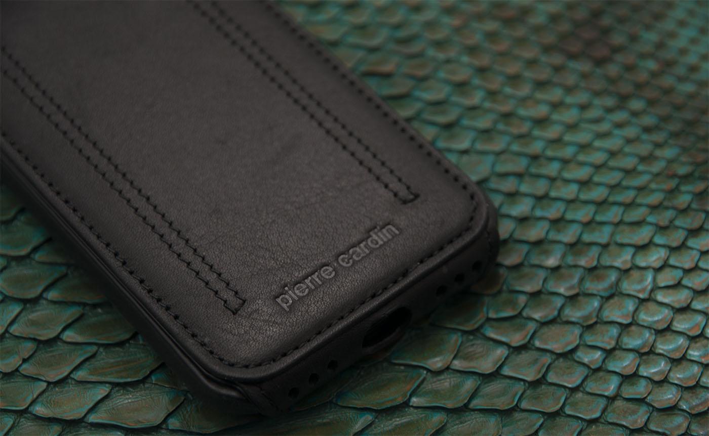 Чехол раскладушка, кожаный, чёрный Pierre Cardin flip red для iPhone 8