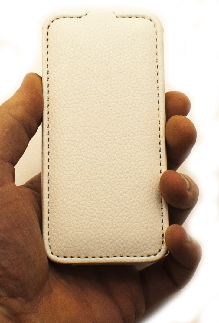 Чехол раскладушка, кожаный, белый Melkco для iPhone SE