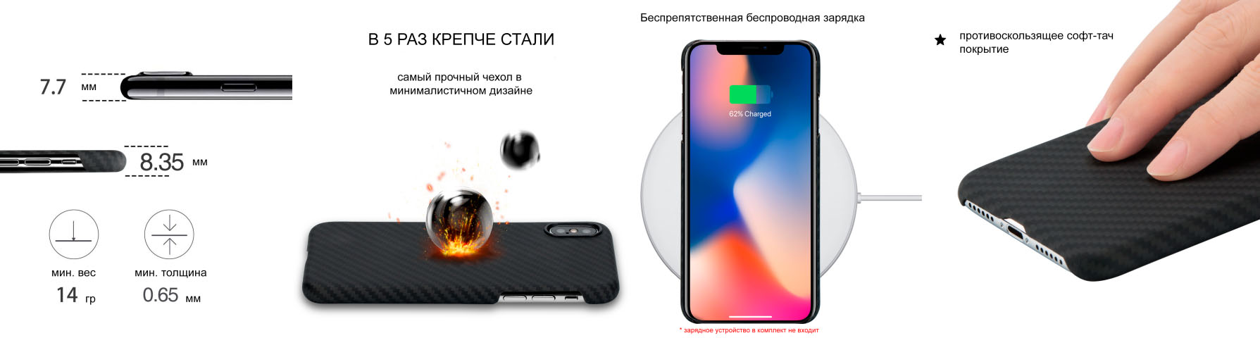 Чехол Pitaka MagCase, карбоновый, чёрный для iPhone X