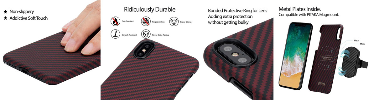 Чехол Pitaka MagCase, карбоновый, красный для iPhone X