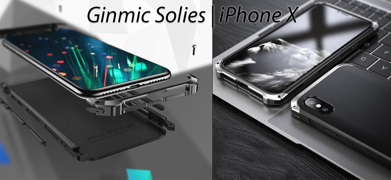 Чехол, противоударный Ginmic, Solies, чёрный, для iPhone X