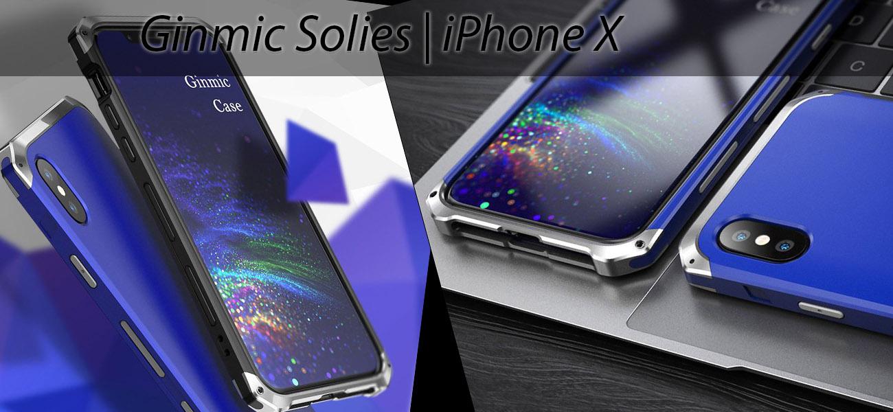 Чехол, противоударный Ginmic, Solies, синий, для iPhone X