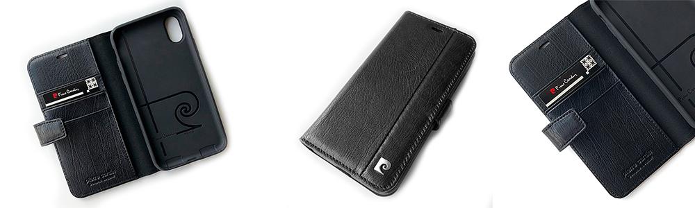 Чехол книжка Pierre Cardin, кожаный, чёрный для iPhone X