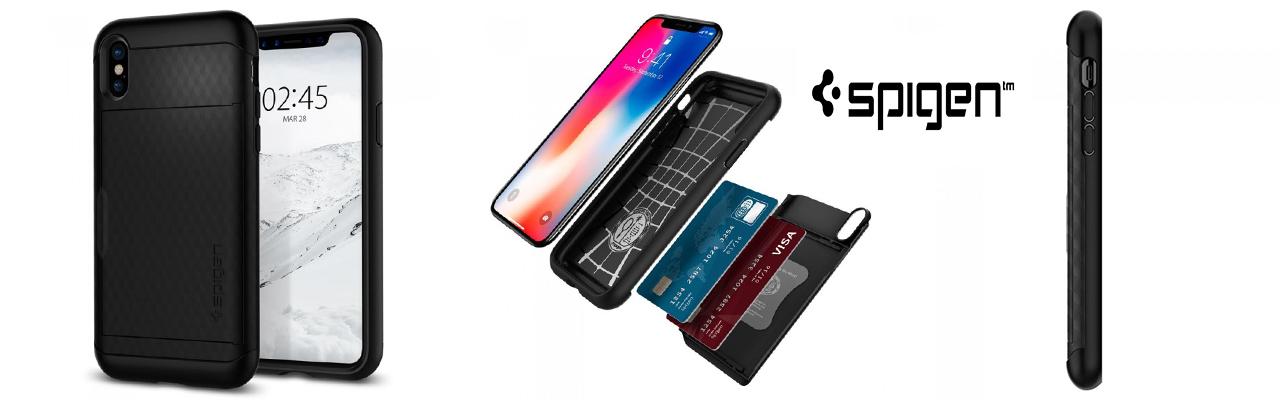Чехол противоударный чёрный визитка SPIGEN Crystal Wallet для iPhone X