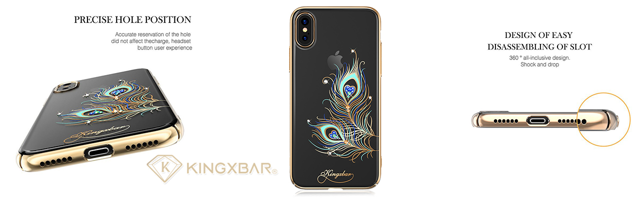 Чехол накладка золотая Kingxbar Exquisite Series Feather для iPhone X — Swarovski