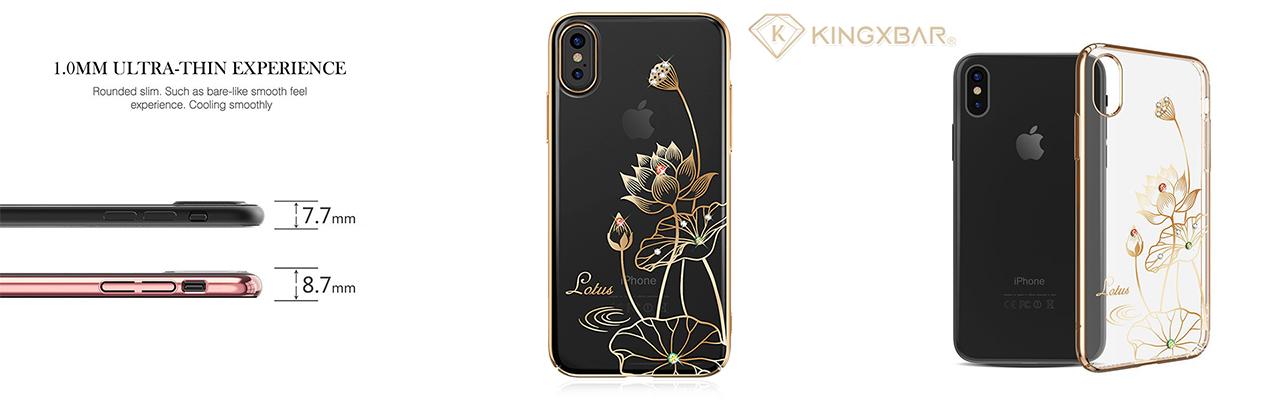 Чехол накладка золотой лотус Kingxbar Elegant Series Lotus для iPhone X — Swarovski