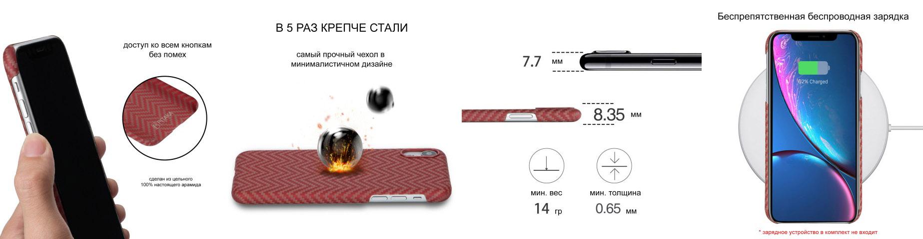 Чехол Pitaka MagCase, карбоновый, красно-оранжевый для iPhone XR