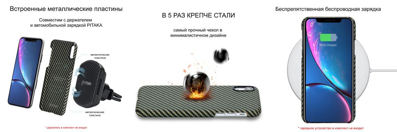Чехол Pitaka MagCase, карбоновый, зелёный для iPhone XR